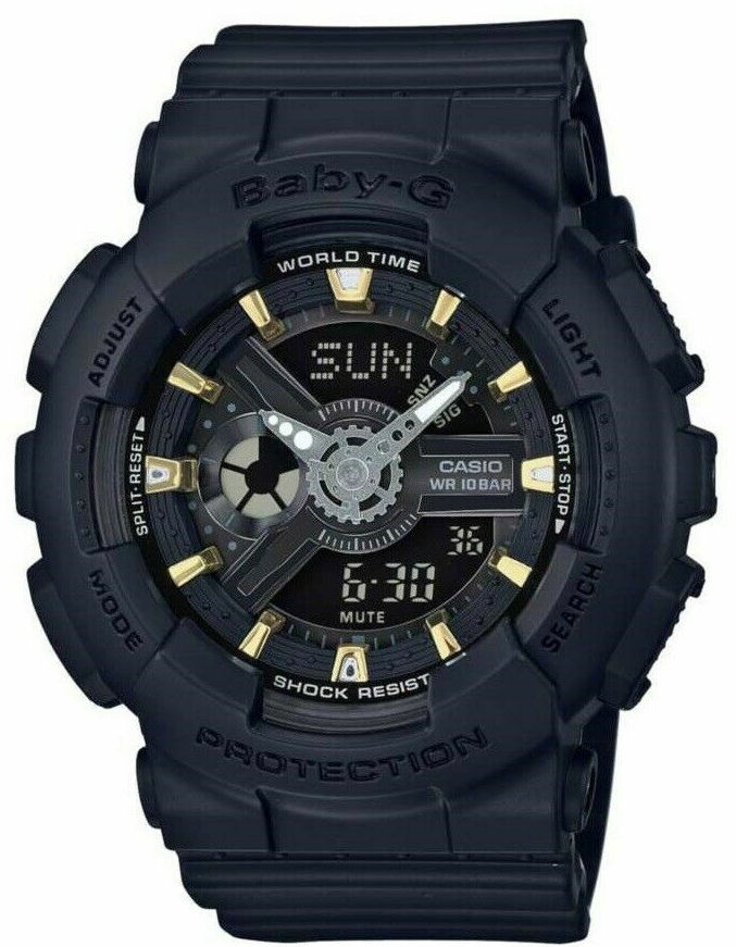 Authentic G-Shock Baby G Ana-Digi Black & Grey Dial Black Resin Watch BA110GA-1A