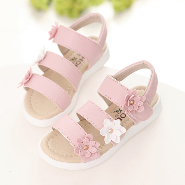 Ankle Wrap Appliques Beautiful Flower Shoes