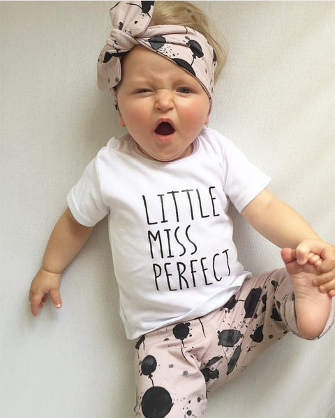 Little Miss Perfect 3 Piece Newborn Baby Girl Outfit