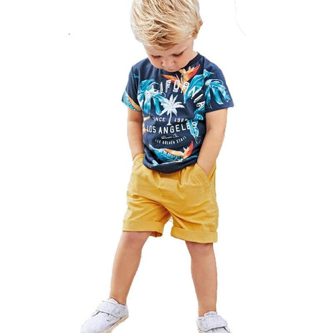 O-neck Pullover Summer Boys Cloth Set