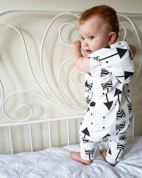 Sleeveless Arrow Hooded Romper Jumpsuit
