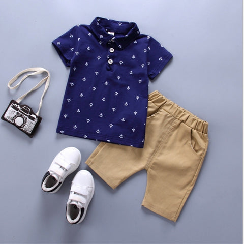 Short Sleeved Causal Boy Clothing Set