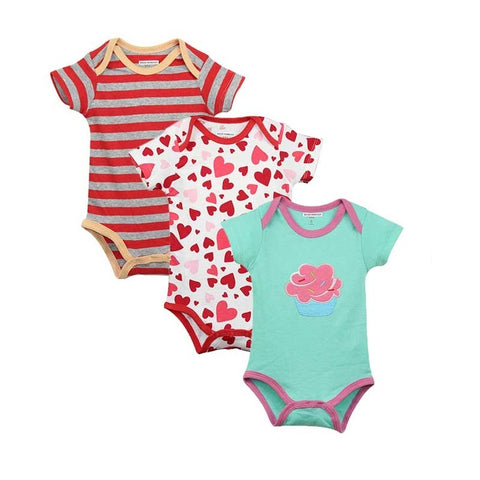 Short Sleeve Lovely Printed Jumpsuit For Infants 3PCS/LOT