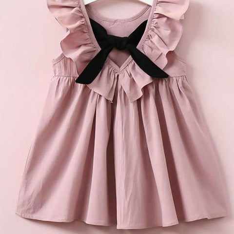 Cotton Fly Sleeve Bow Dress