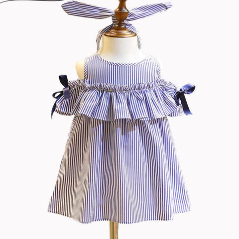 Striped Ruffles Off Shoulder Dress