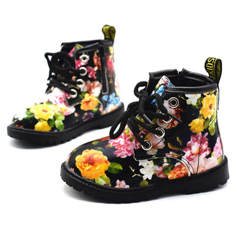 Cute Floral Printed PU Leather Boot For Baby Girls