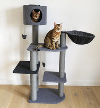 Load image into Gallery viewer, Charcoal Felt Cat Triple Tower