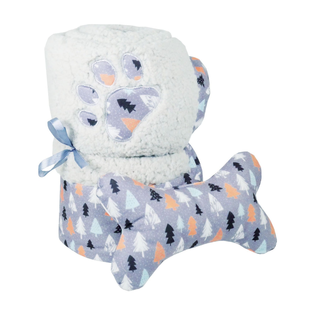Luxury Winter Forest Dog Blanket and Toy