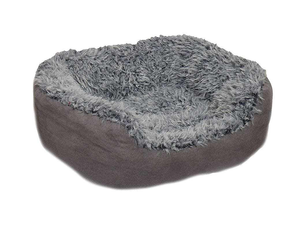 Grey Lion Faux Suede Oval Bed
