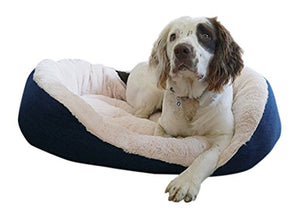 Navy Cable Knit Oval Bed