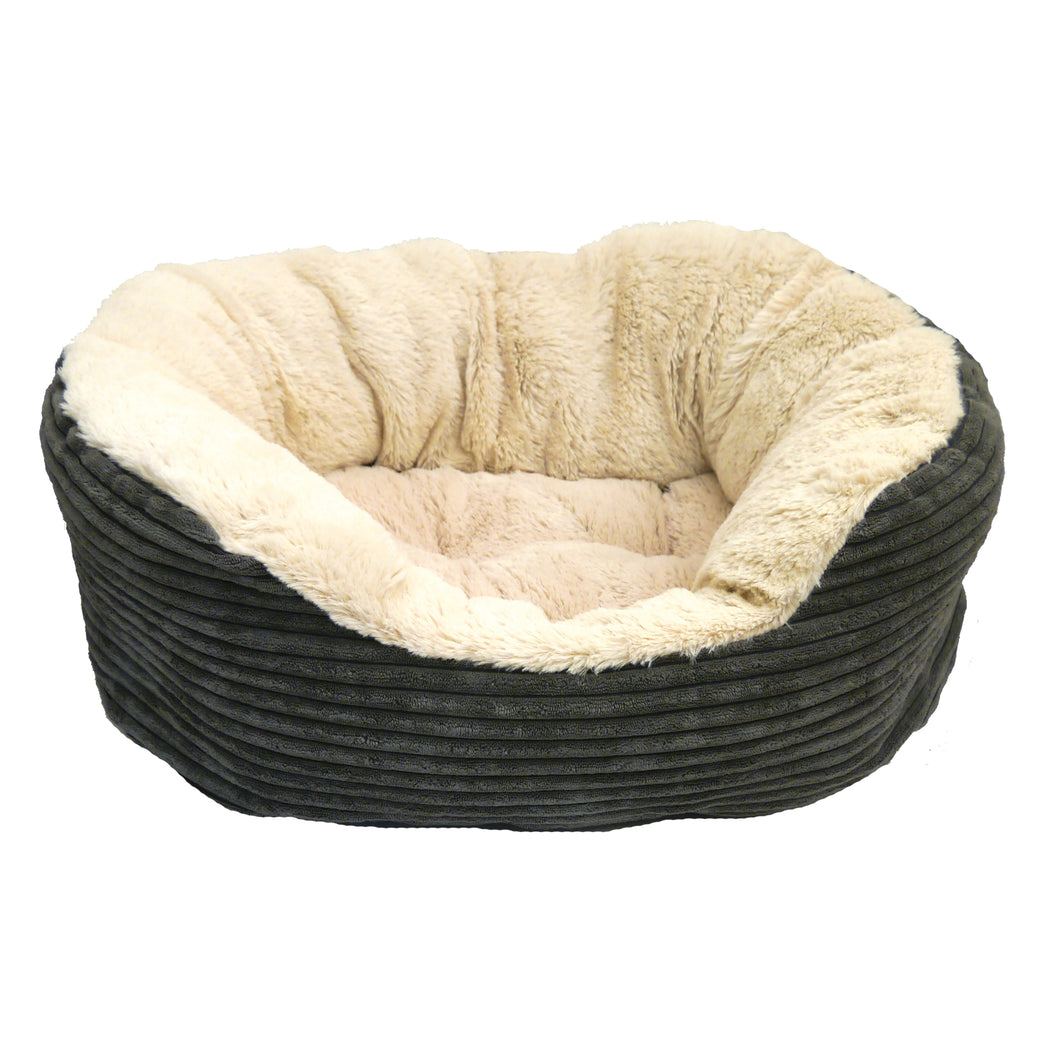 Grey Jumbo Cord / Plush Oval Bed