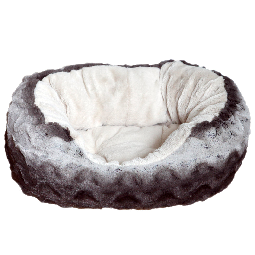 Grey & Cream Snuggle Plush Oval