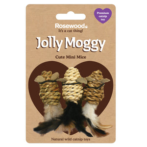 Jolly Moggy Natural Wild Catnip Mini Mice 3pc