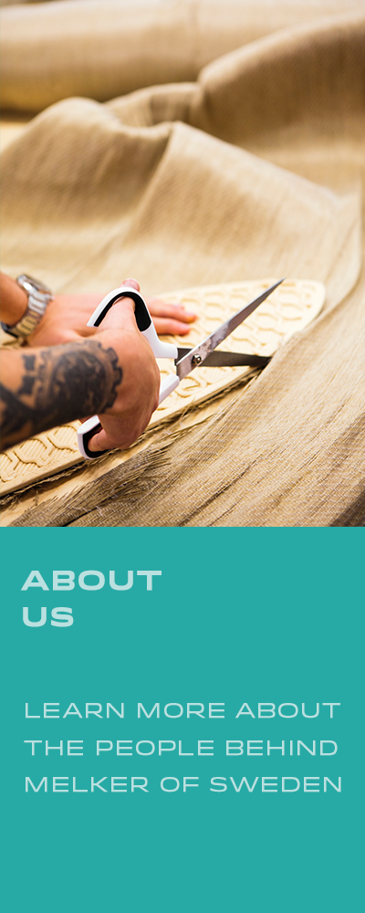 About us. Learn more about the people behind Melker of Sweden. Hand cutting flax fiber around a board