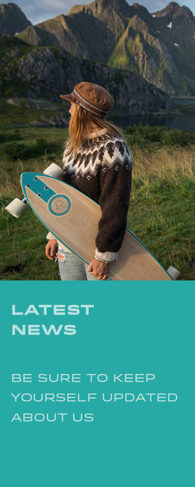 Latest News, Be sure to keep updated about Melker. Picture of a women holding a longboard with mountains in background