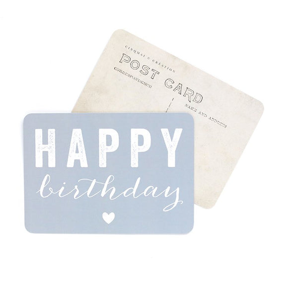 CINQ MAI - Carte postale Happy birthday Bleu
