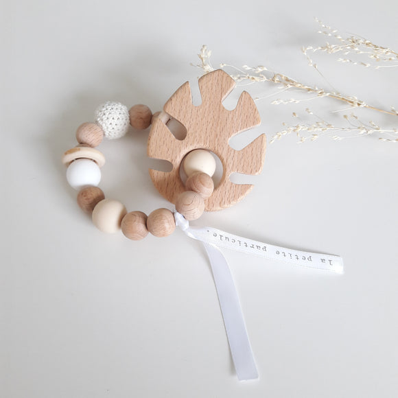 Bracelet de dentition Feuille beige