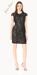 Women's Short Sleeve Black Diamond Lace Sheath Dress