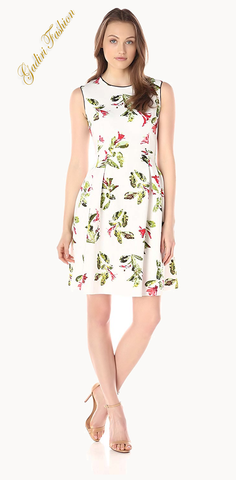 Women's RANIA Sleeveless Floral Printed Fit and Flare Dress