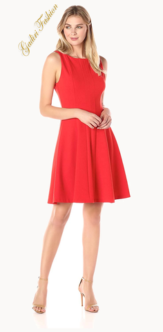 Women's Sleeveless Boatneck A-Line Seamed  Classic Dress at gadiri fashion store
