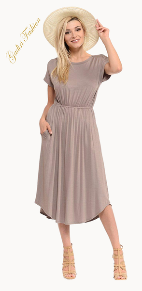 Short Sleeve Flare Midi Dress with Pockets X-Large