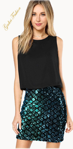 Fashion Club Wear Party Sparkle Sequin Tank Dress
