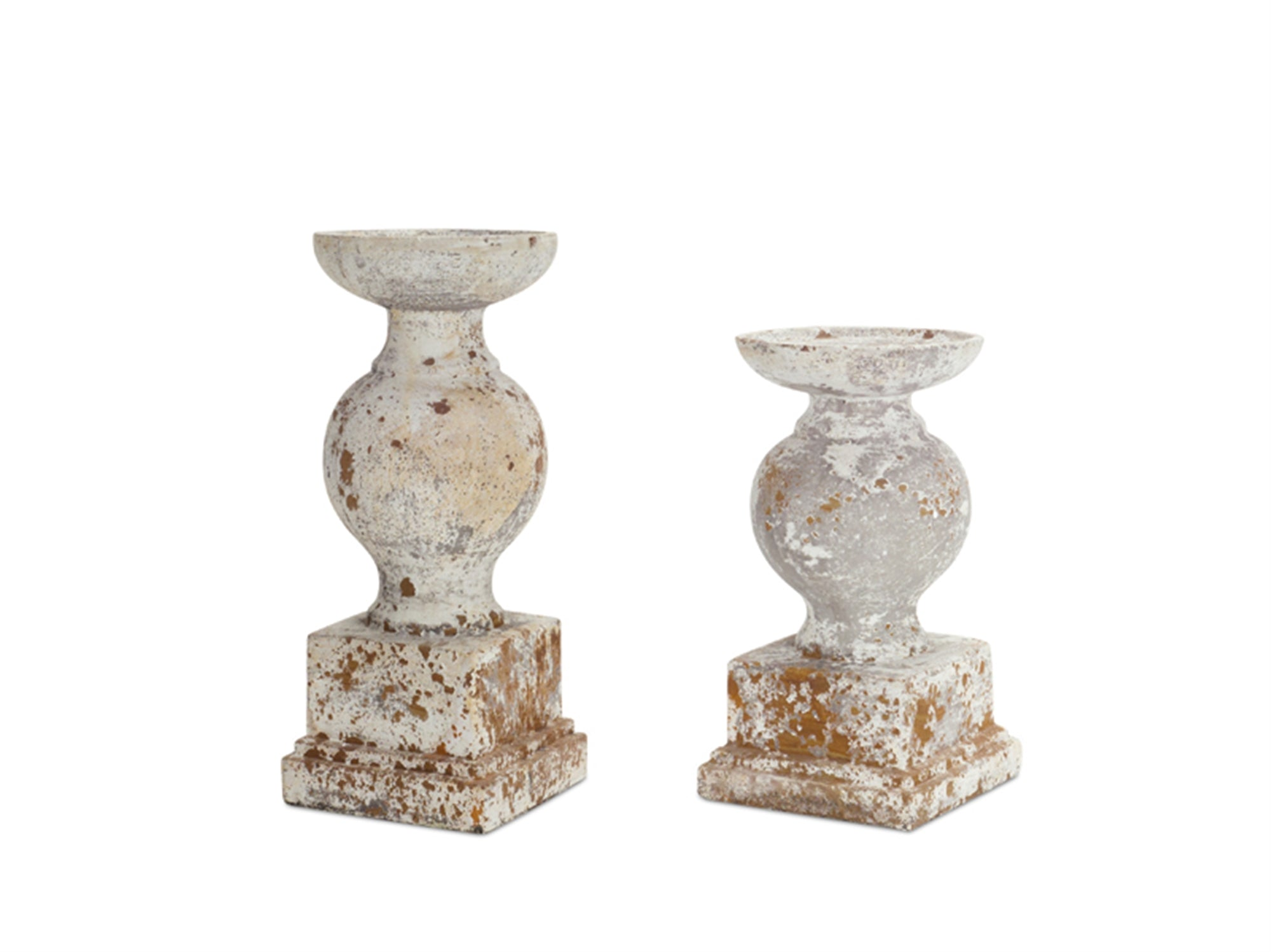 Distressed White Cement Candle Holders Set Of 2 J D M S
