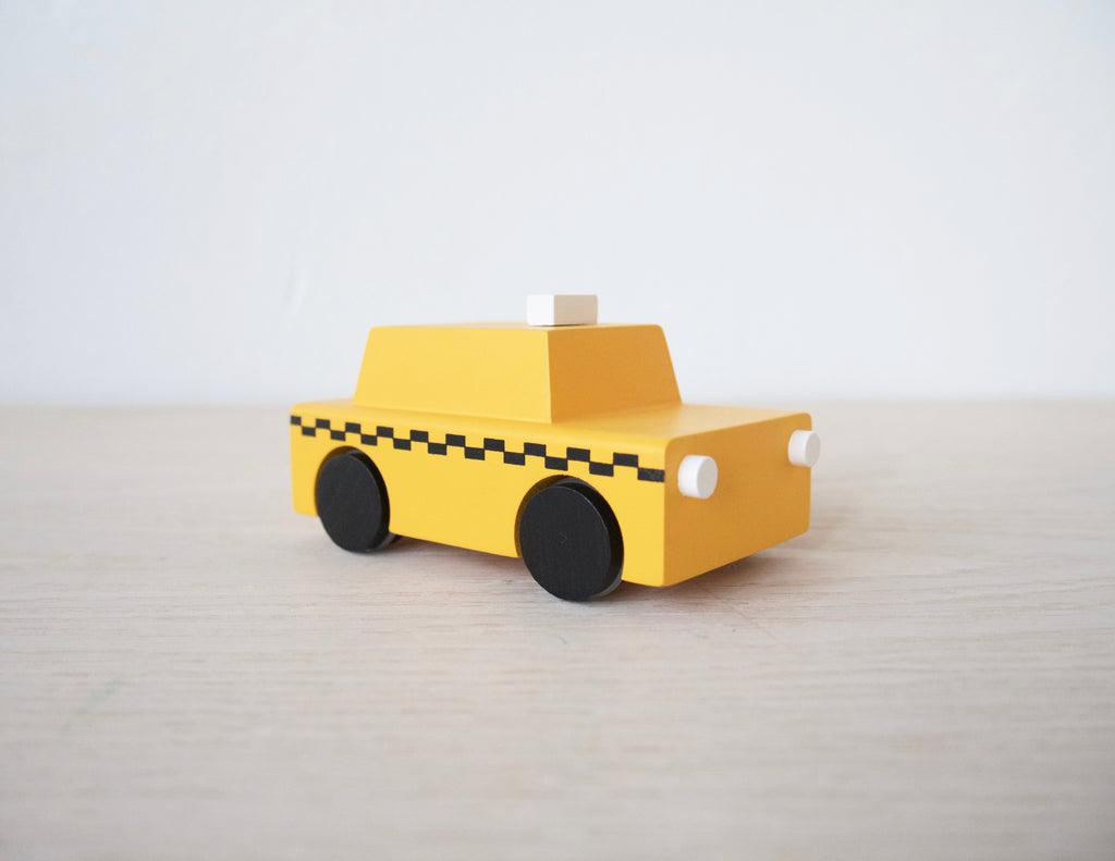 Wooden NYC Yellow Taxi Cab Windup Toy Car