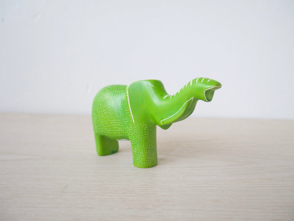 Large Lime Green Polka Dot Elephant with Trunk Up