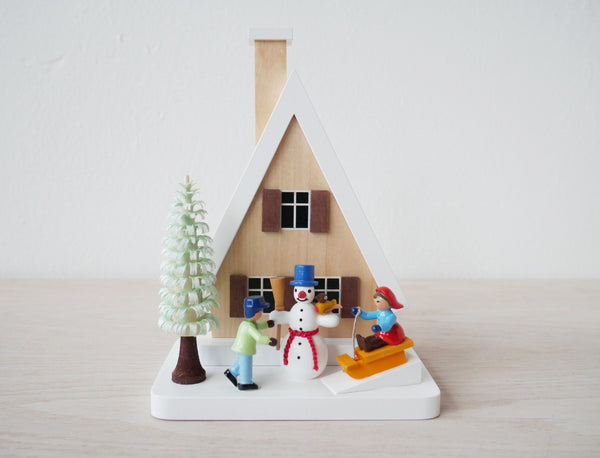 Richard Glässer Winter Scene Chalet & Children Incense Burner