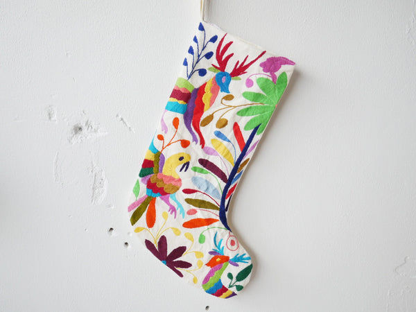 Stocking - Otomi Embroidered - Multicolored