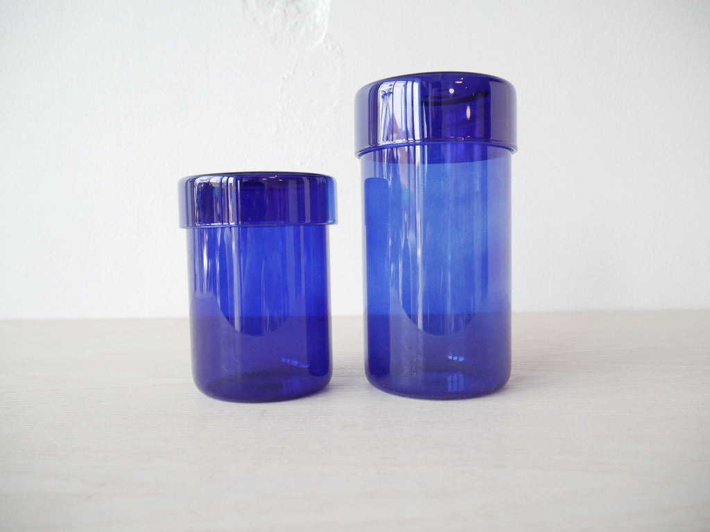 Glass Storage Jar Set of 2 - Blue