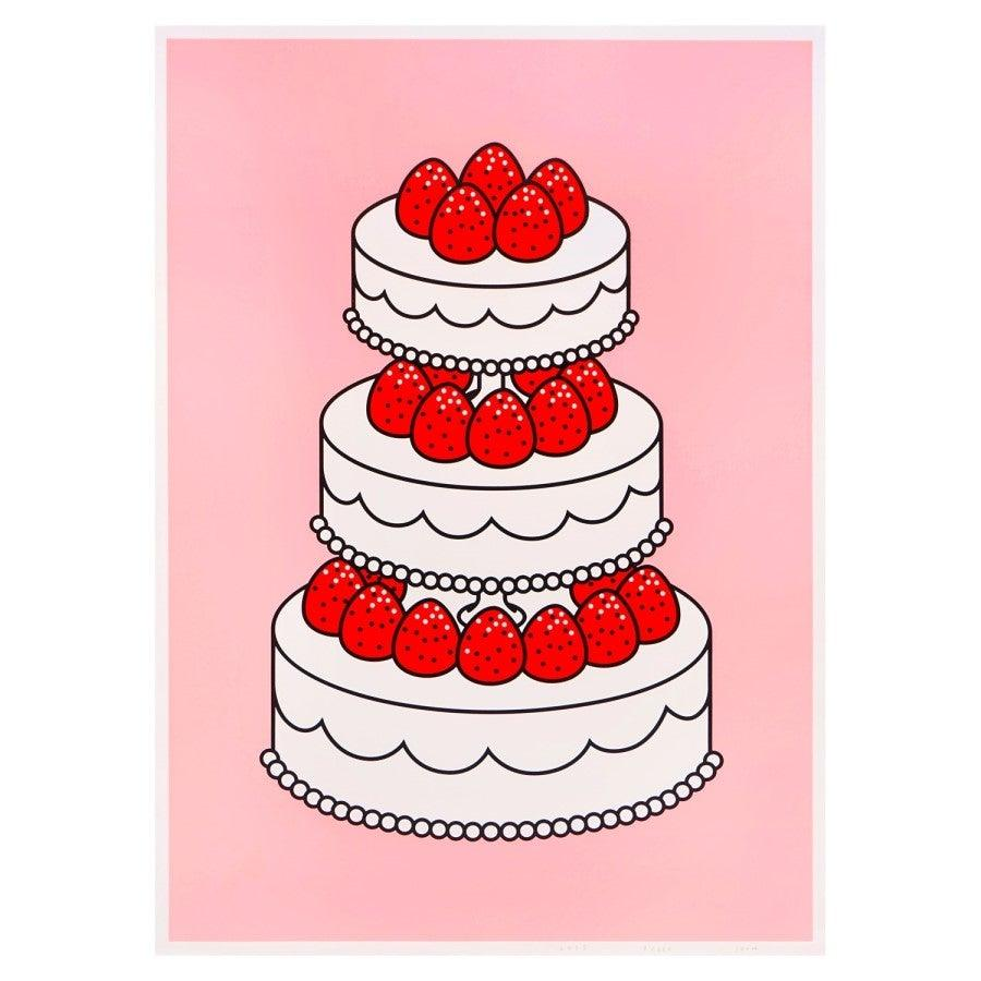 Silkscreen Poster - Strawberry cake, pink