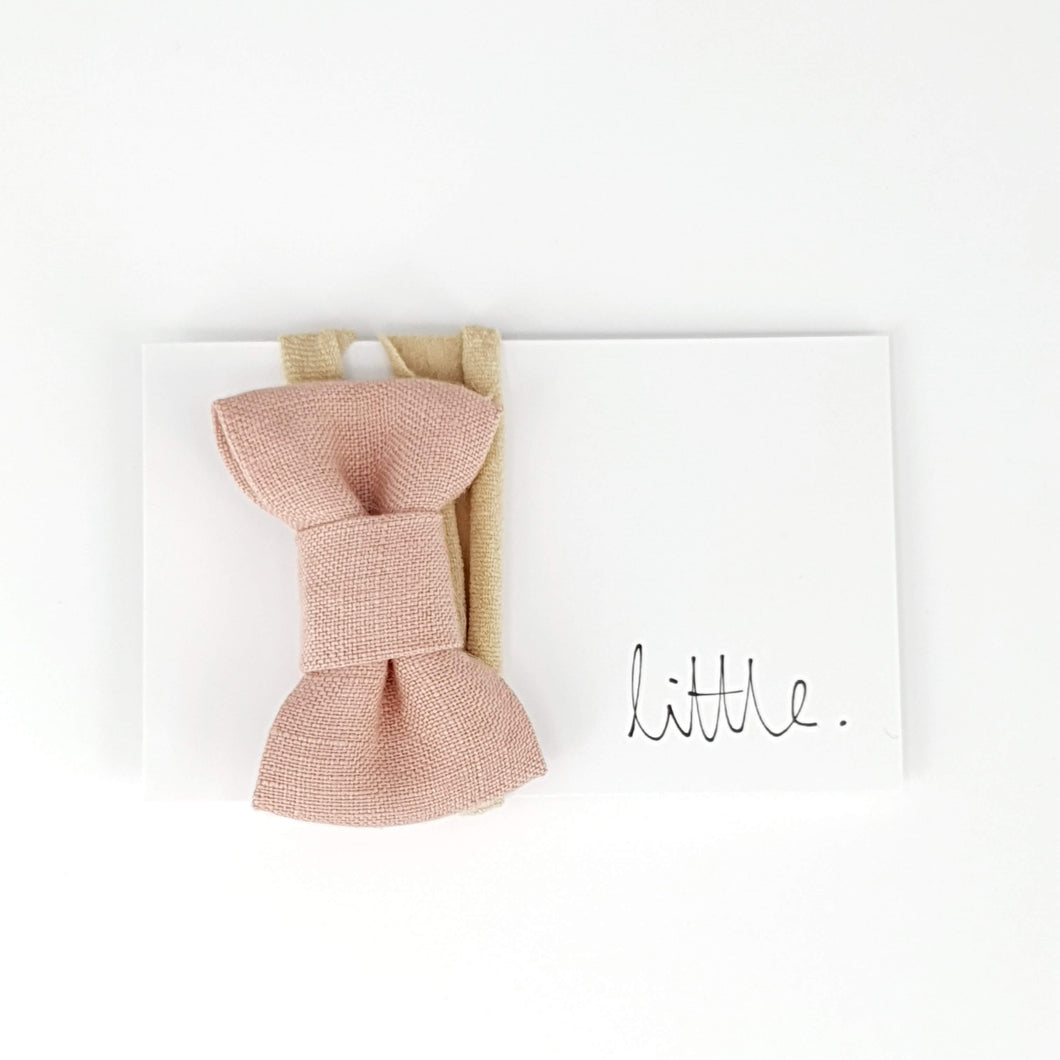 Little Linen Bow Headband - Blush