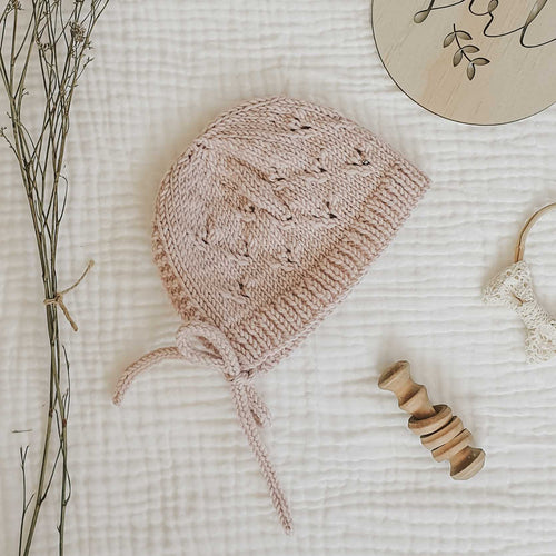 Knitted Little Hearts Bonnet - Blush