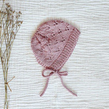 Load image into Gallery viewer, Knitted Little Hearts Bonnet - Dusk