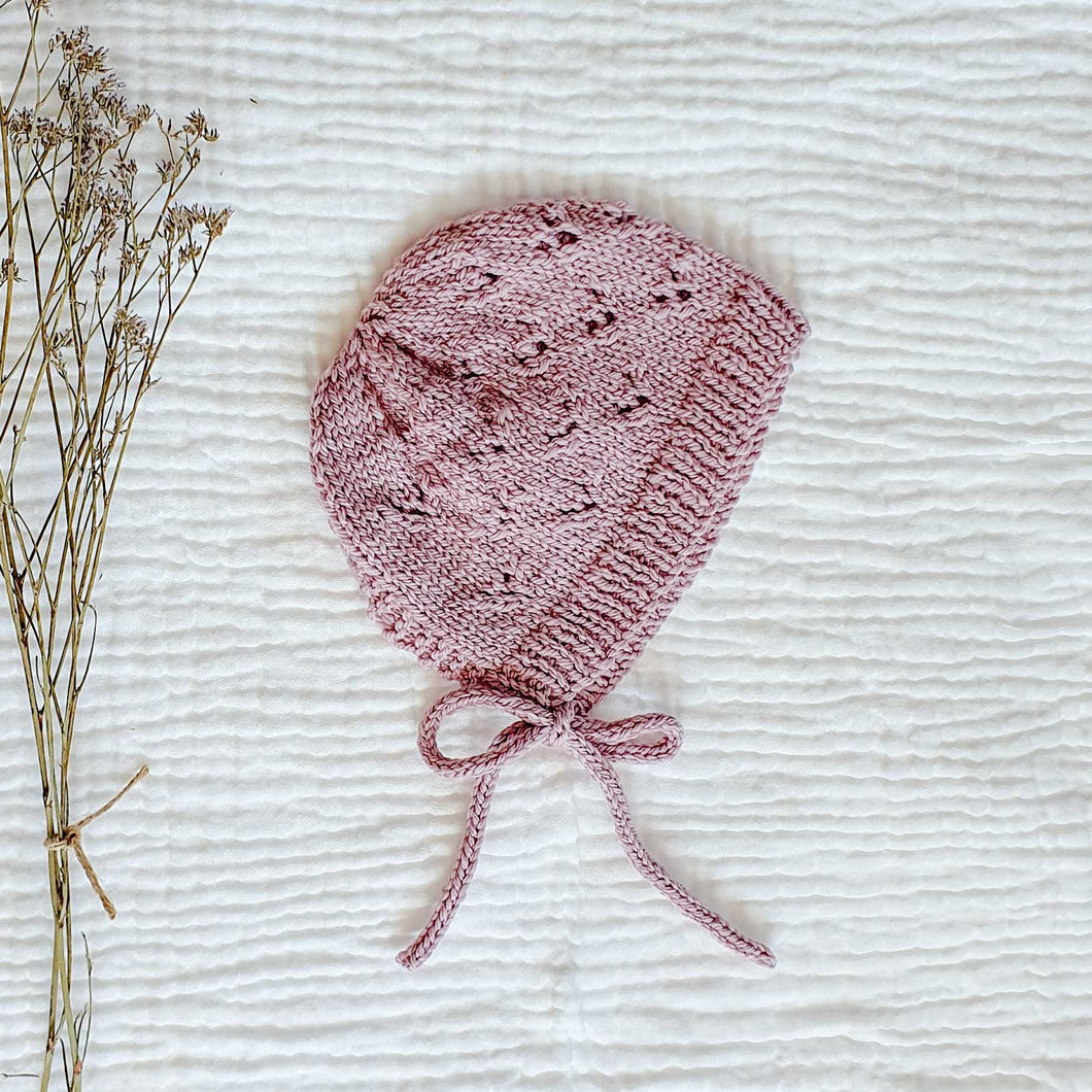 Knitted Little Hearts Bonnet - Dusk