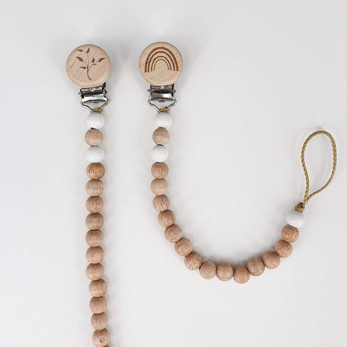 Petite Wooden Bead Dummy Chain - White and Natural
