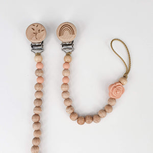 Petite Wooden Bead Dummy Chain - Blush with Flower