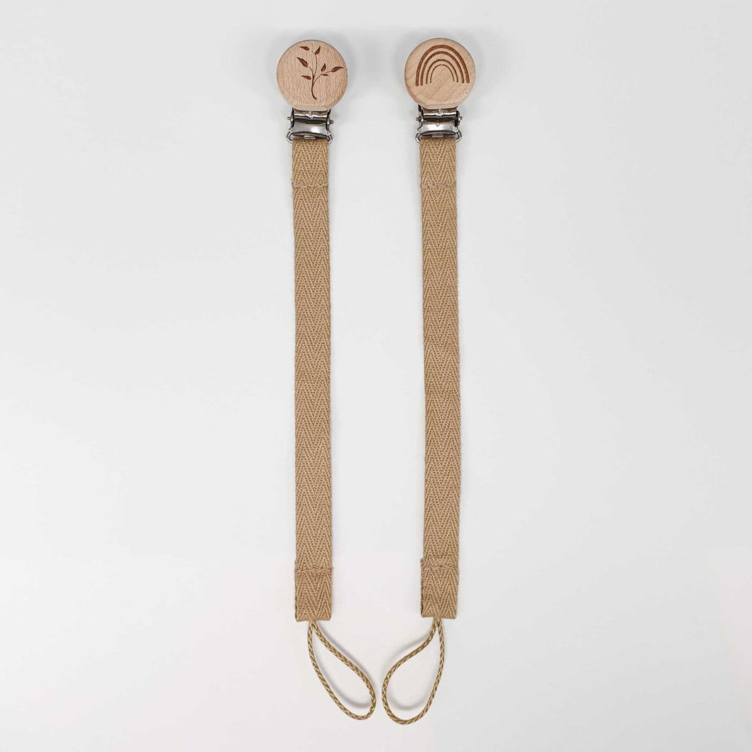 Cotton Dummy Chain with Wooden Engraved Clip | Beige