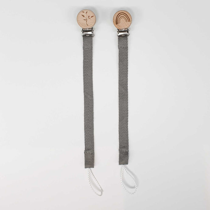 Cotton Dummy Chain with Wooden Engraved Clip | Grey