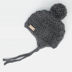Crochet Pom Pom Hat - Charcoal