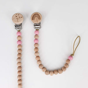 Petite Wooden Bead Dummy Chain - Pink and Natural