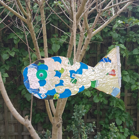 recycled fish; recycling project for kids; upcycled fish design; junk fish