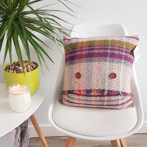 Checked Wool Cushion (Purple Stripe) - KICA Living