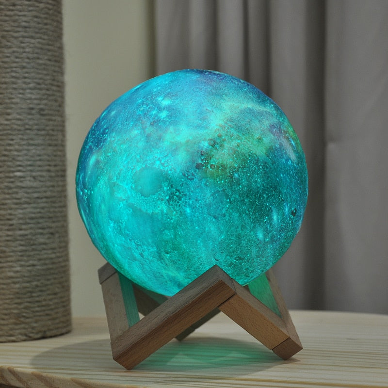New Arrival 3D Print Star Moon Galaxy Lamp Colorful Change