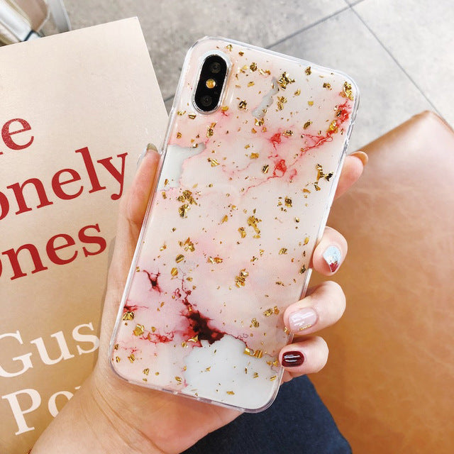 Luxury Gold Foil Bling Marble Phone Case For iPhone X XS Max XR