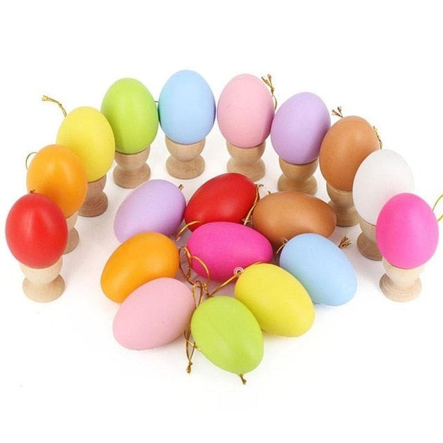 12pcs Mixed Color Plastic Hanging Easter Egg 40x60mm