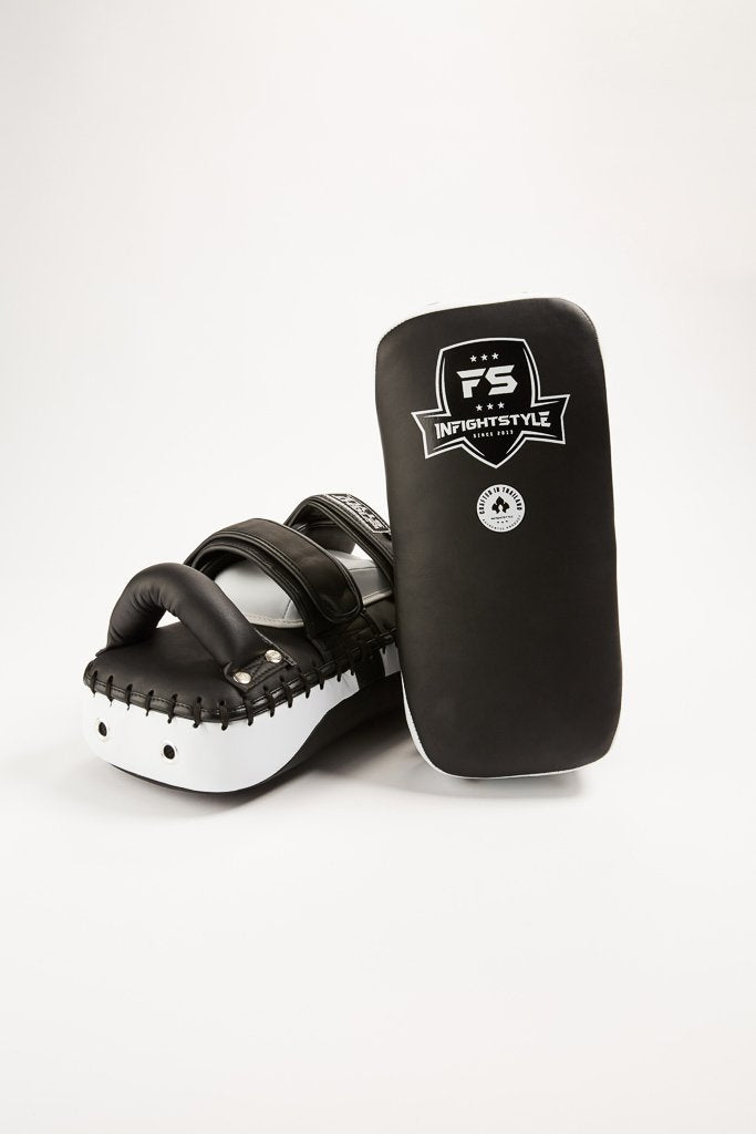 InFightStyle Double Strap Velcro Kickpad - Black/White
