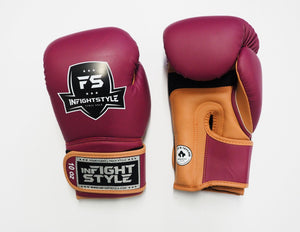 "InFightStyle ""Heritage"" Muay Thai Boxing Glove - Wine/Caramel"